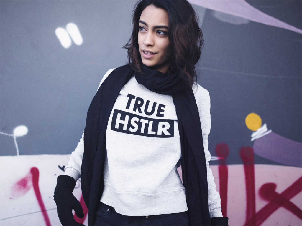 true hstlr women's sweatshirt white